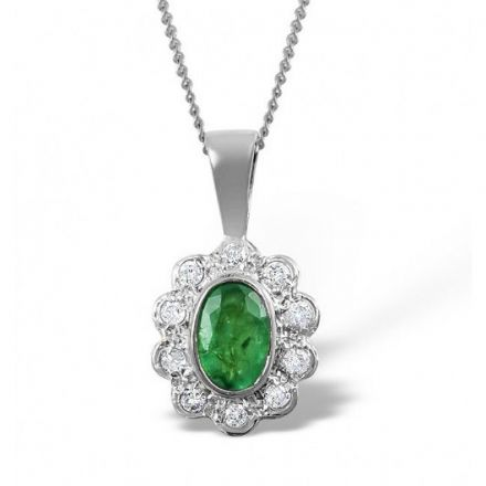 9K White Gold 0.10ct Diamond & 6mm x 4mm Emerald Pendant, Z1497